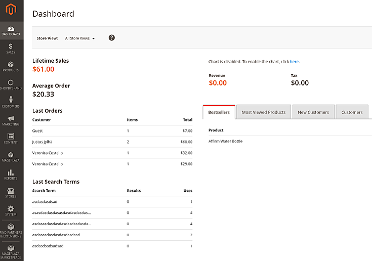 Magento 2 administrator's user interface