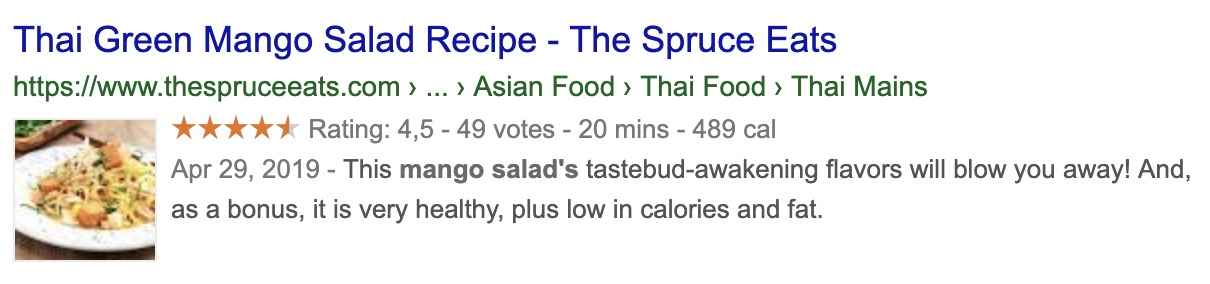 Mikrodatan avulla on mahdollista esittää esimerkiksi reseptin arvioitu kokkausaika ja kalorimäärä.